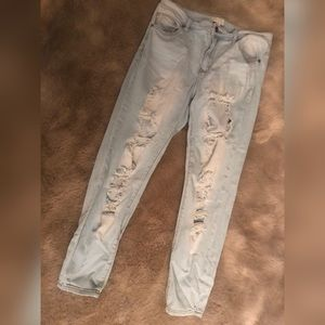 Plus size distressed denim
